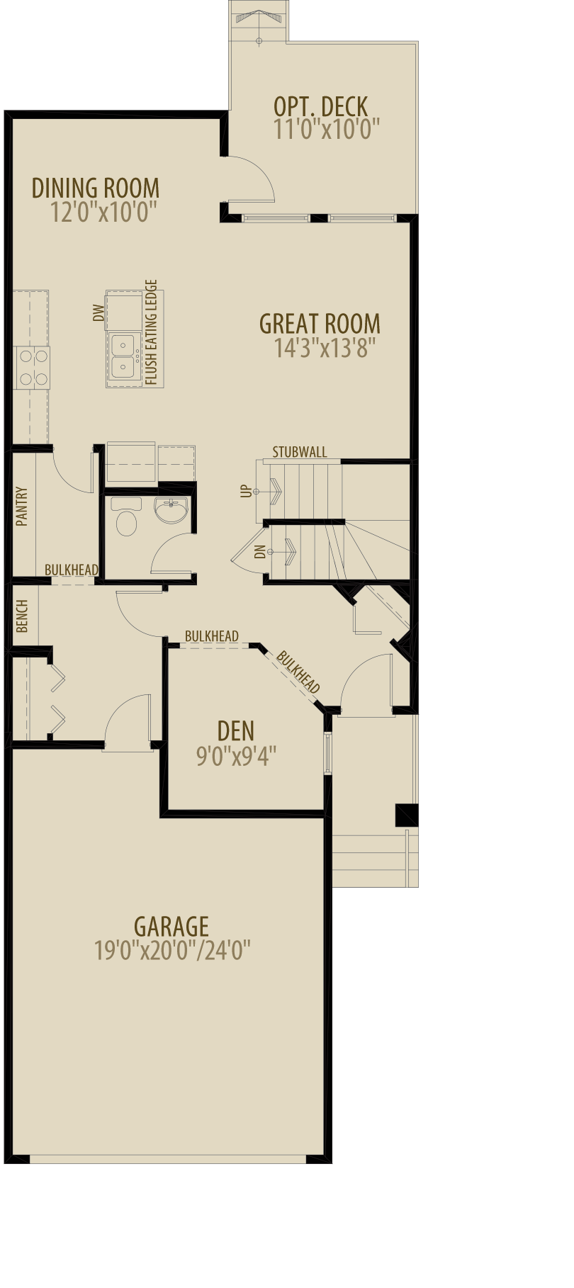 Option 5 Main Floor Den Adds 40 sq ft