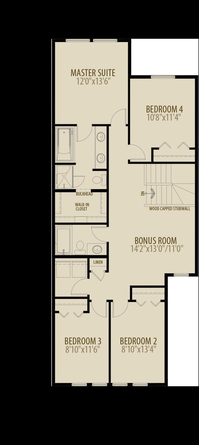 Option 8 4th Bedroom Bonus Rooom Adds 74 sq ft