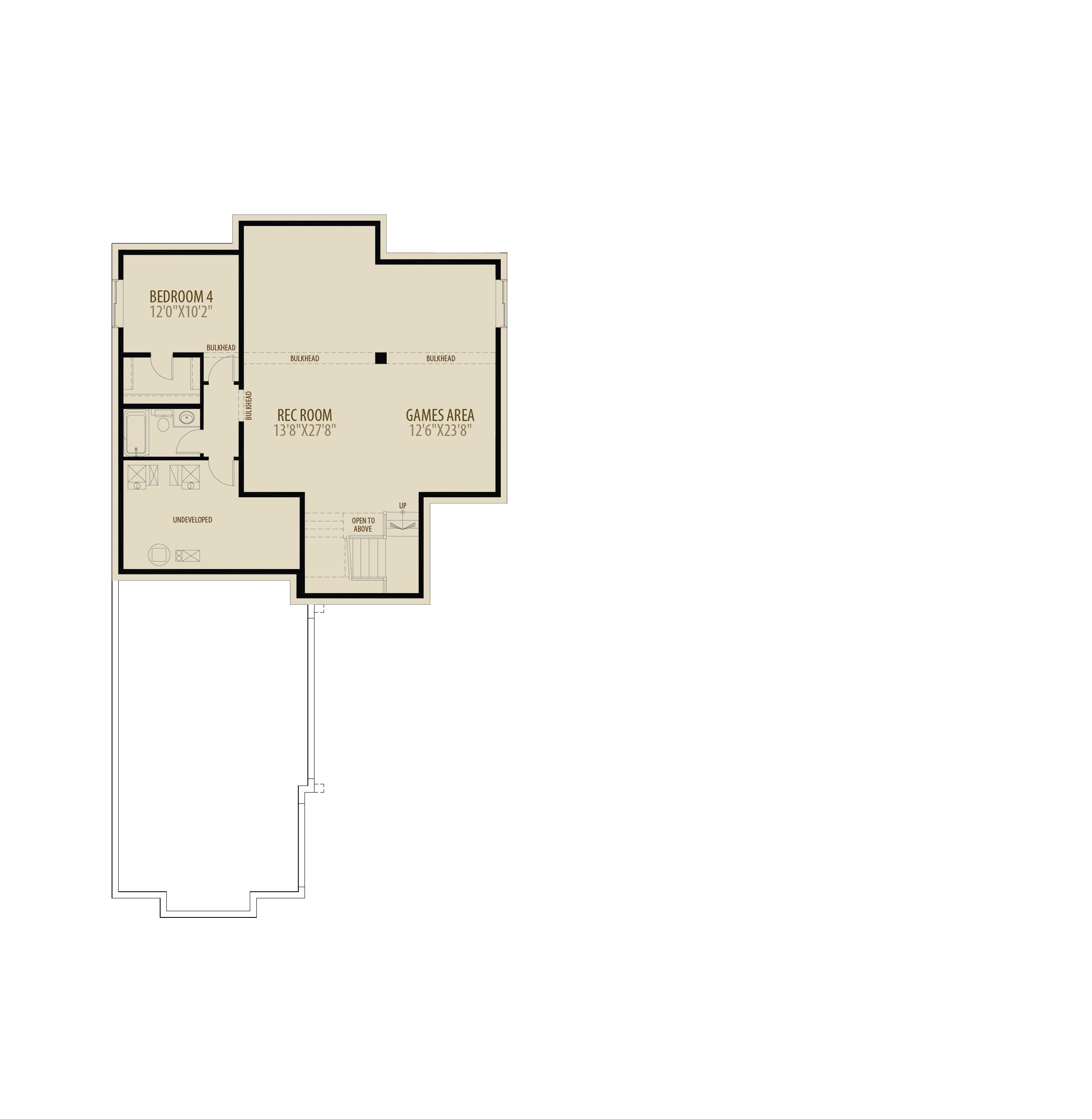 Basement 4th Bedroom, Rec Room and Games Area