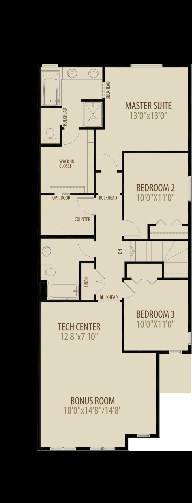 Upper Floor Plan w/ Option 7 - Livingston Standard Plan (Adds 210 sq ft)