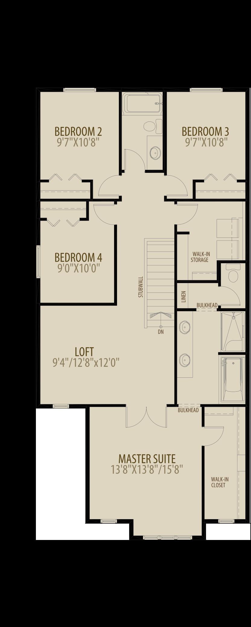 Revised Upper Floor 3 w 4th Bedroom adds 50 sq ft