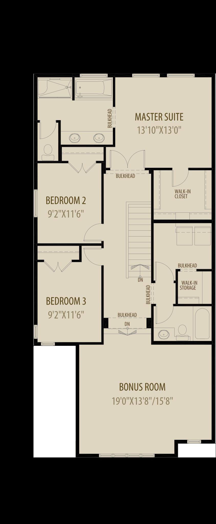 Extended Bonus Room - Livingston Standard Plan (Adds 60 Sq Ft)
