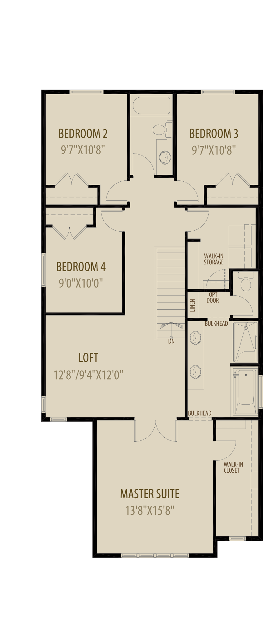 Revised Upper Floor 3 With 4Th Bedroom (Adds 60 Sq Ft)