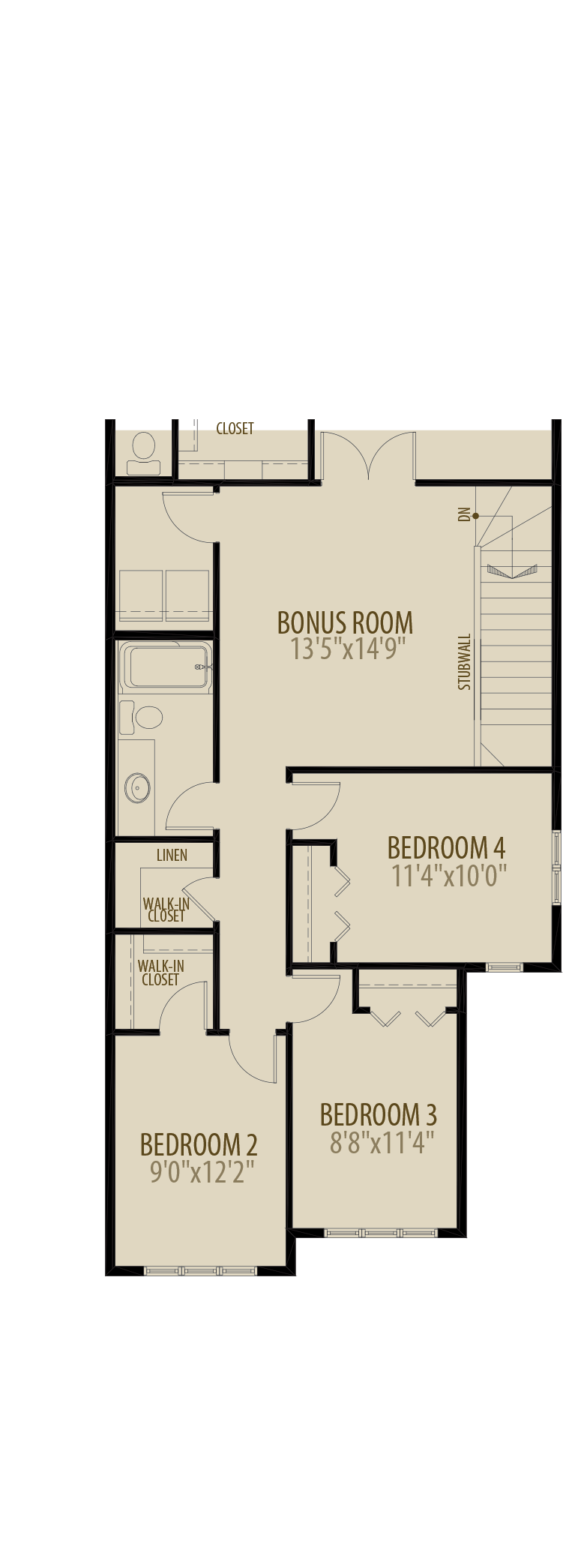 4th Bedroom (Adds 229 SQ FT)