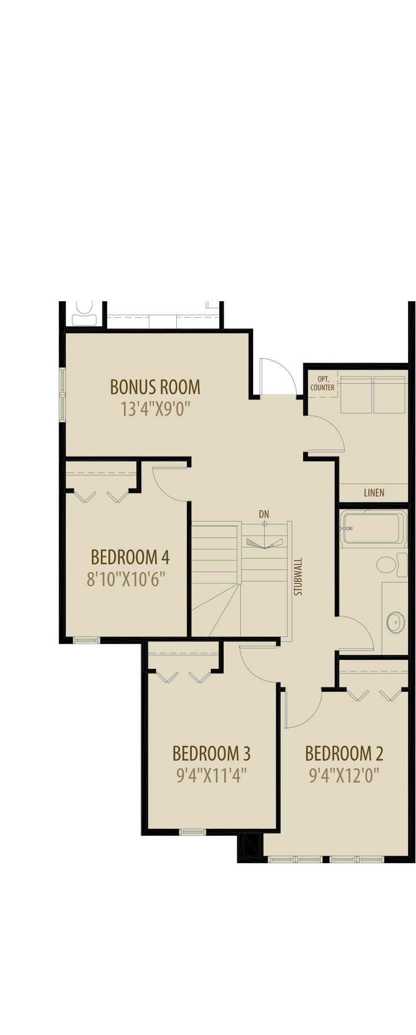 Option 3 4th Bedroom adds 60 sq ft