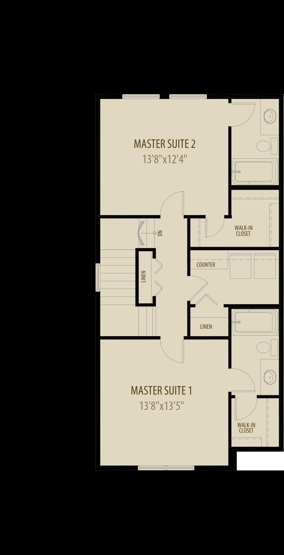 Dual Master Suites Deletes 9Sq Ft