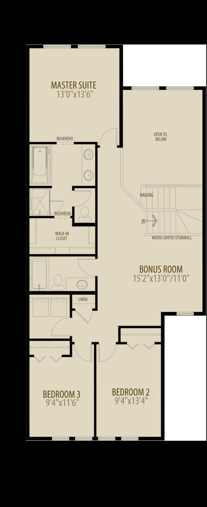 Open To Below Bonus Room Removes 70 sq ft Upper
