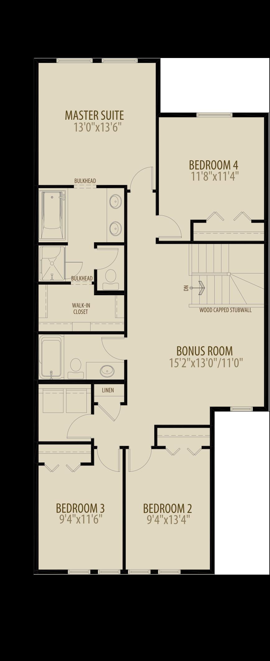 4th Bedroom Bonus Room Adds 104 sq ft (Standard Plan for Livingston)