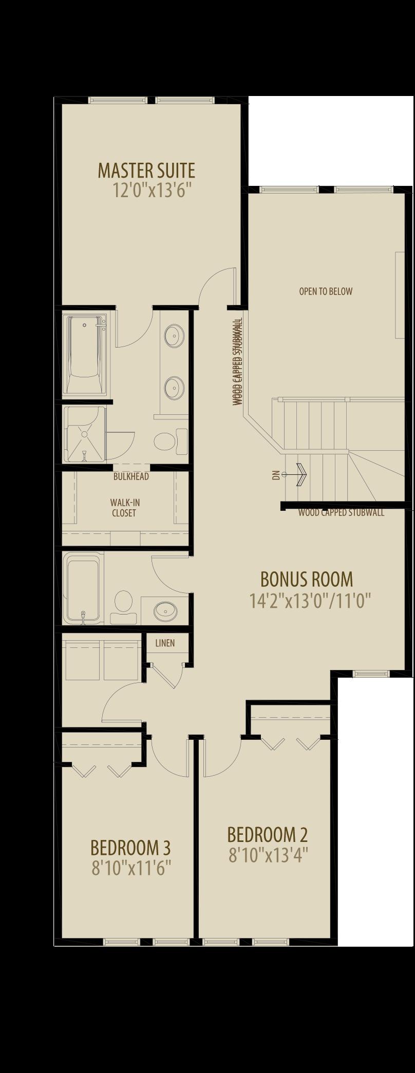 Open To Below Bonus Room Removes 55 sq ft Upper