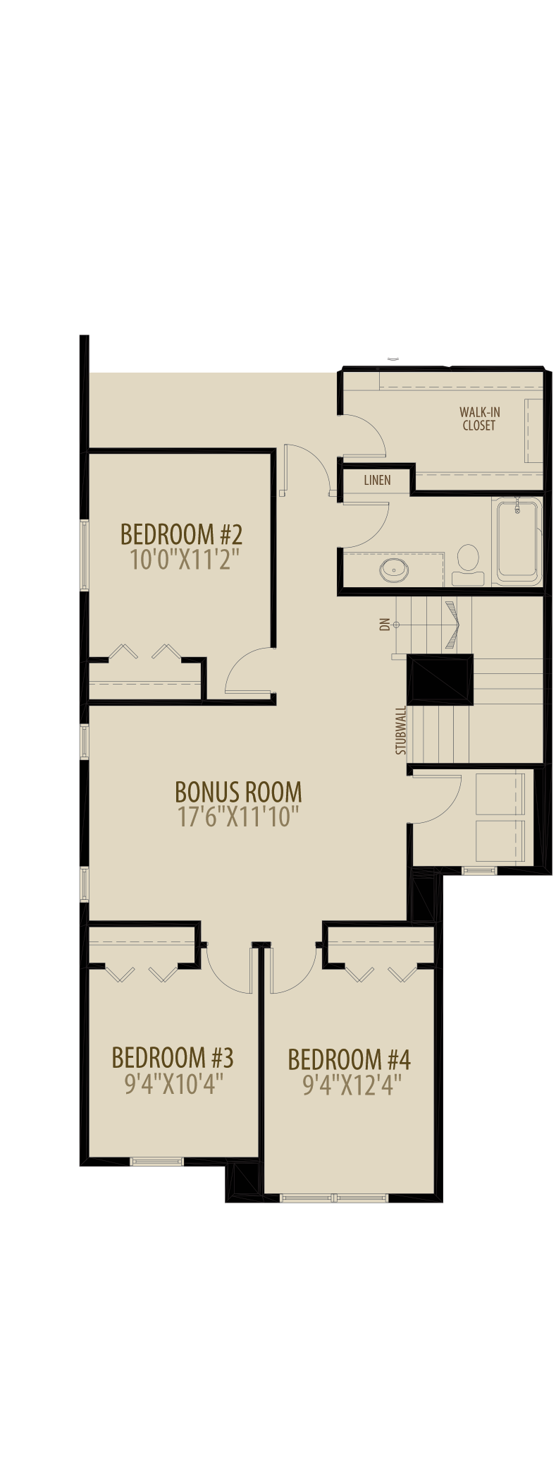 Optional 4th Bedroom Adds 104 sq ft
