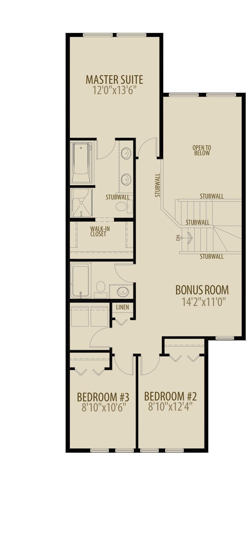 Upper Open to Below Bonus Room Removes 85 sq ft