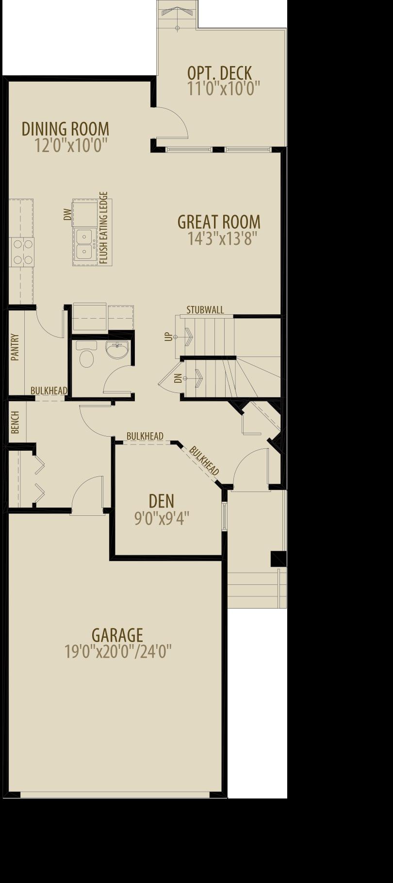Main Floor Den Adds 40 sq ft