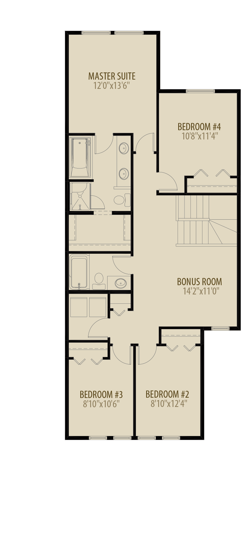 4th Bedroom Bonus Room Adds 74 sq ft